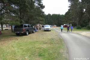 View into tenting area. This was during July 4th week-end. Cars on right are parked in site #1.