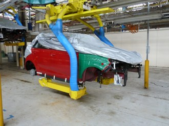 When the part-completed body shells arrive from China at the Longbridge factory, they look like this (MG3 shown here), awaiting front end components.