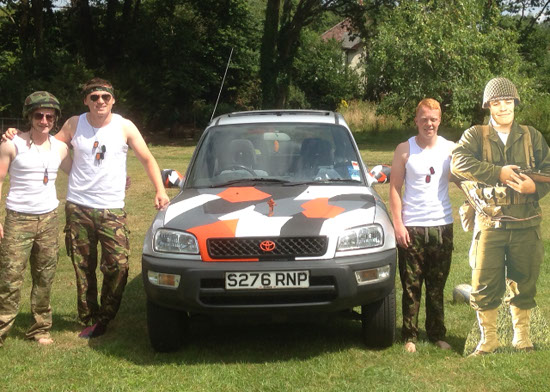 The Toyota team – including the vehicle itself and 'Private Ryan' (Photo courtesy Niall Brown).