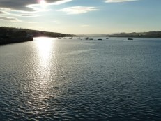 As we crossed the bridge over the Teign estuary, on our way back to Shaldon after a day exploring on foot, the sunset was spectacular. This shot was taken looking inland towards the source of the river Teign.