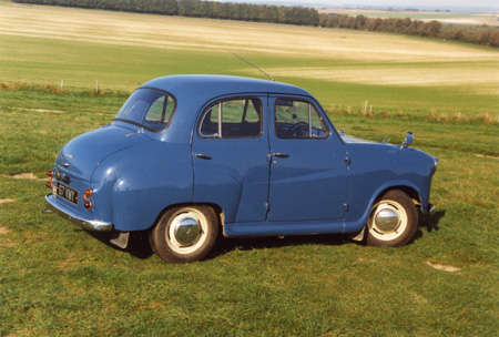 The four door versions of the A35 saloon are comparatively rare but still fetch similar figures to the two door models. The large curved rear window was a feature of the A35.