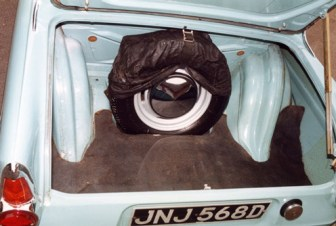 Luggage space was impressive for a small car of the 1960s; it was wide, deep and long, albeit with some intrusion by the wheel arches.