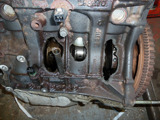 This engine was completely destroyed by a lack of oil, and in particular by the driver (we'll call him 'Silly Billy') ignoring the illumination of a warning lamp which was trying hard to advise him to stop the car and check the engine.