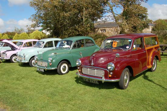 Two door and four door saloon versions, plus a Traveller (estate), seen here lining up in the sun in Cornwall. The club scene is very active for Minors.