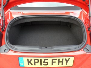 A practical feature is that the boot capacity is unaffected by the hood position; when open, the hood folds into its own tray above the luggage compartment.