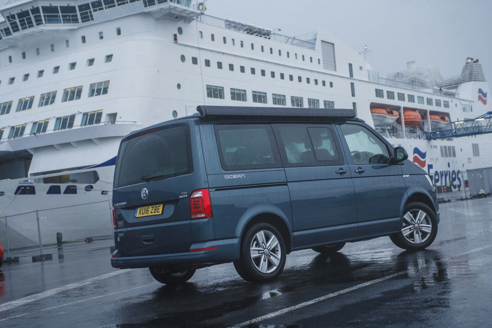 It was raining for our departure from the Caen ferry port.