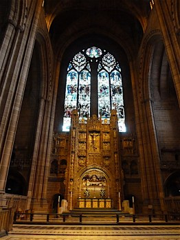 The magnificent interior of the Church of England Cathedral in Liverpool.