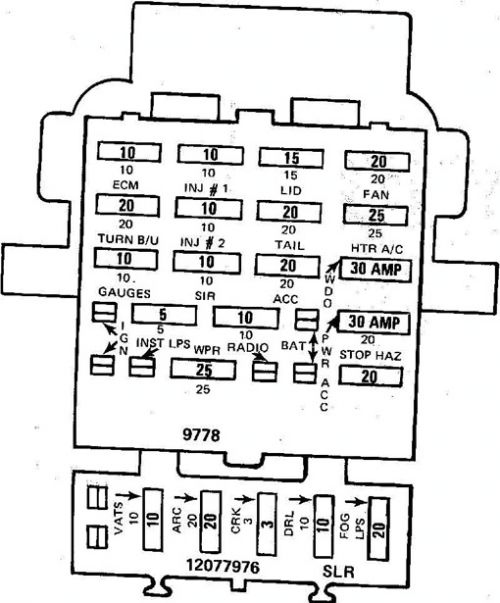 Fuse Panel Diagram For 1993 Pontiac Firebird