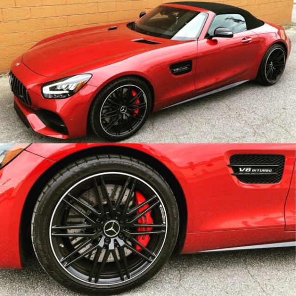 Satin black & machined lip wheels by wheel Wizard on this Mercedes AMG GT coupe