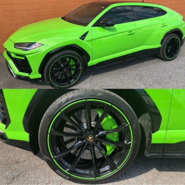 Gloss black with neon-green pinstripe rims for this Lambo by Wheel Wizard ATL