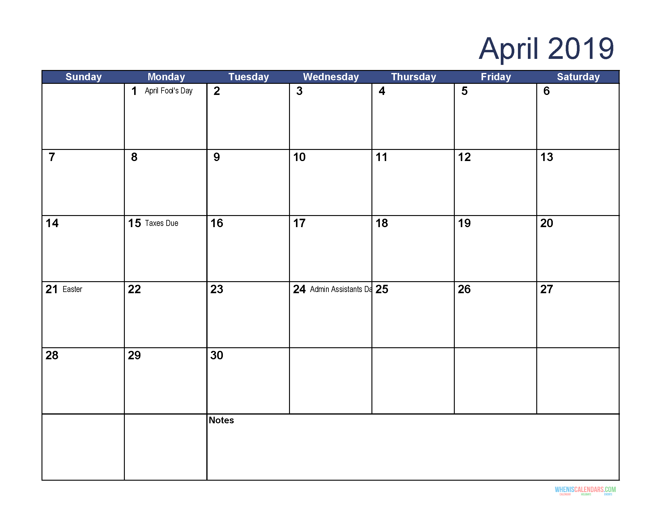 Free Download Printable April Calendar With Holidays
