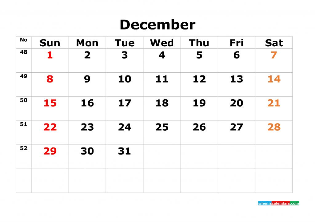 Printable Calendar Template 2019 Monthly Calendar [ 12