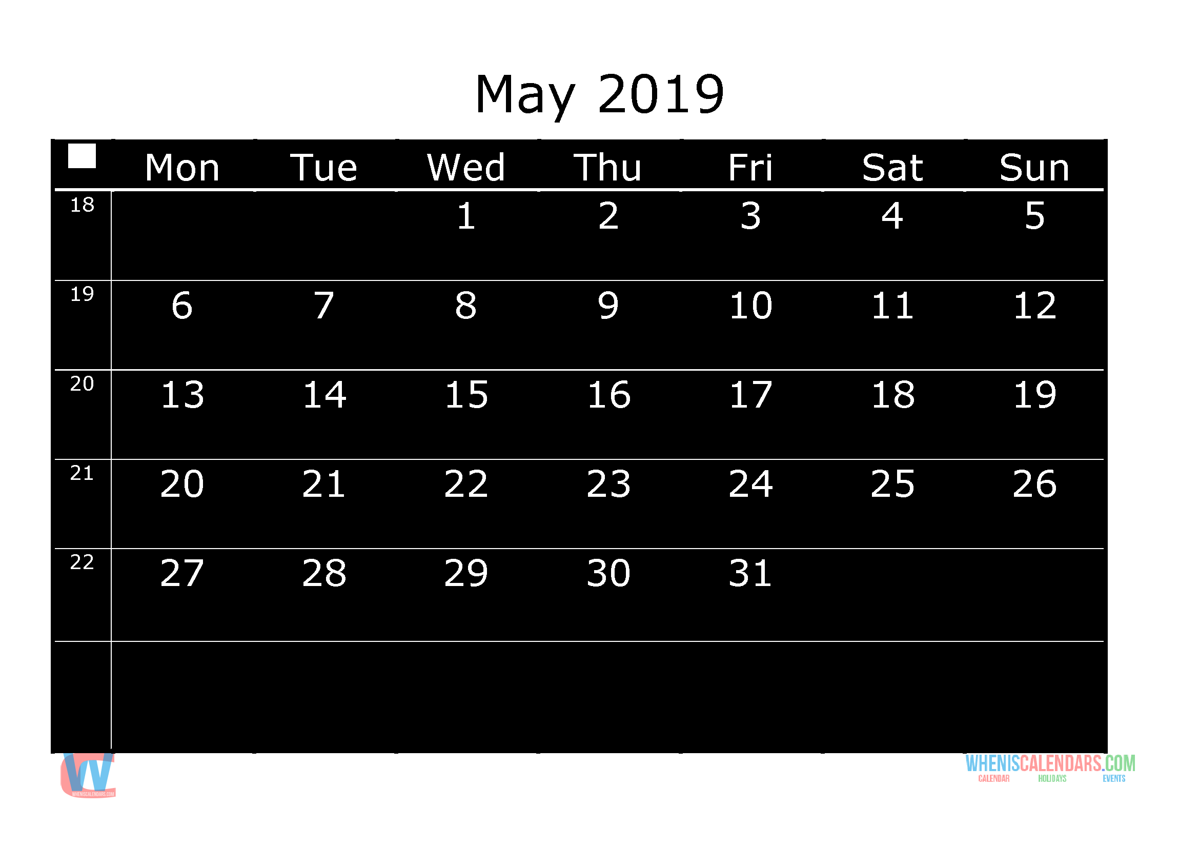 free printable monthly calendar 2019 with holidays