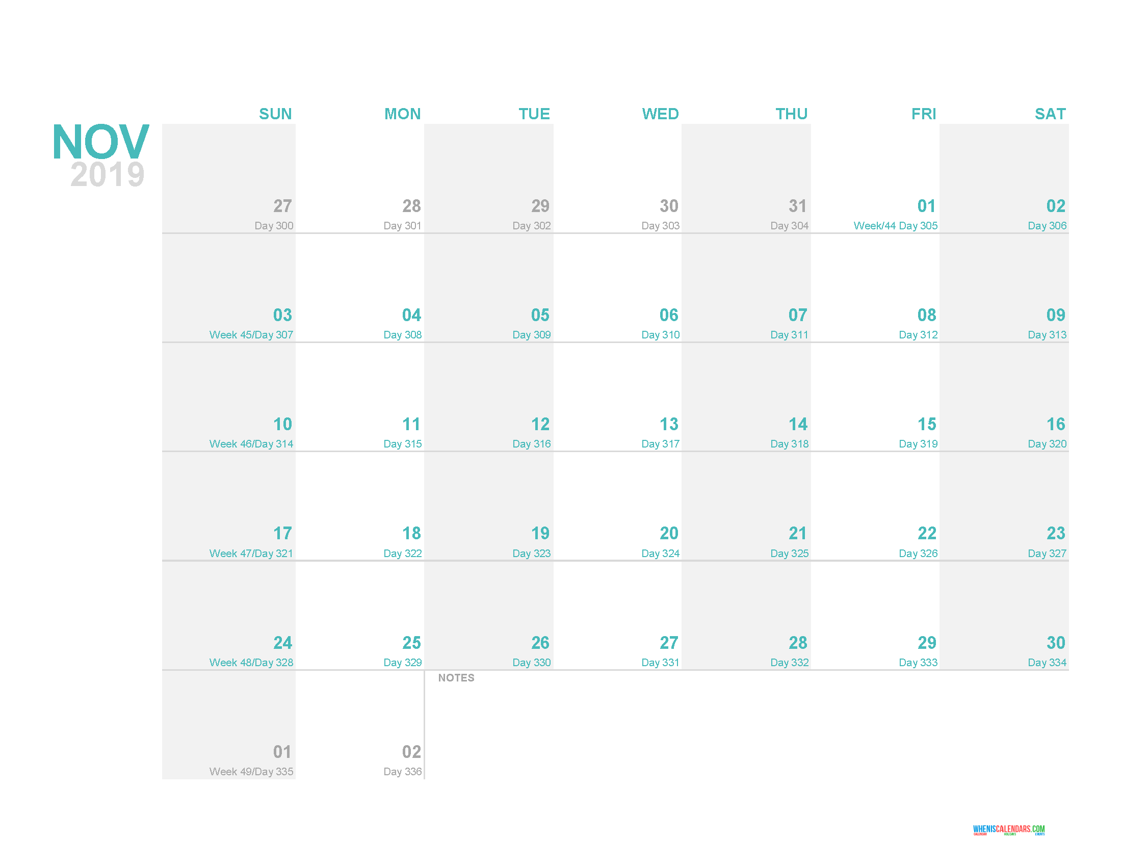 November 2019 Printable Monthly Calendar Template with Day