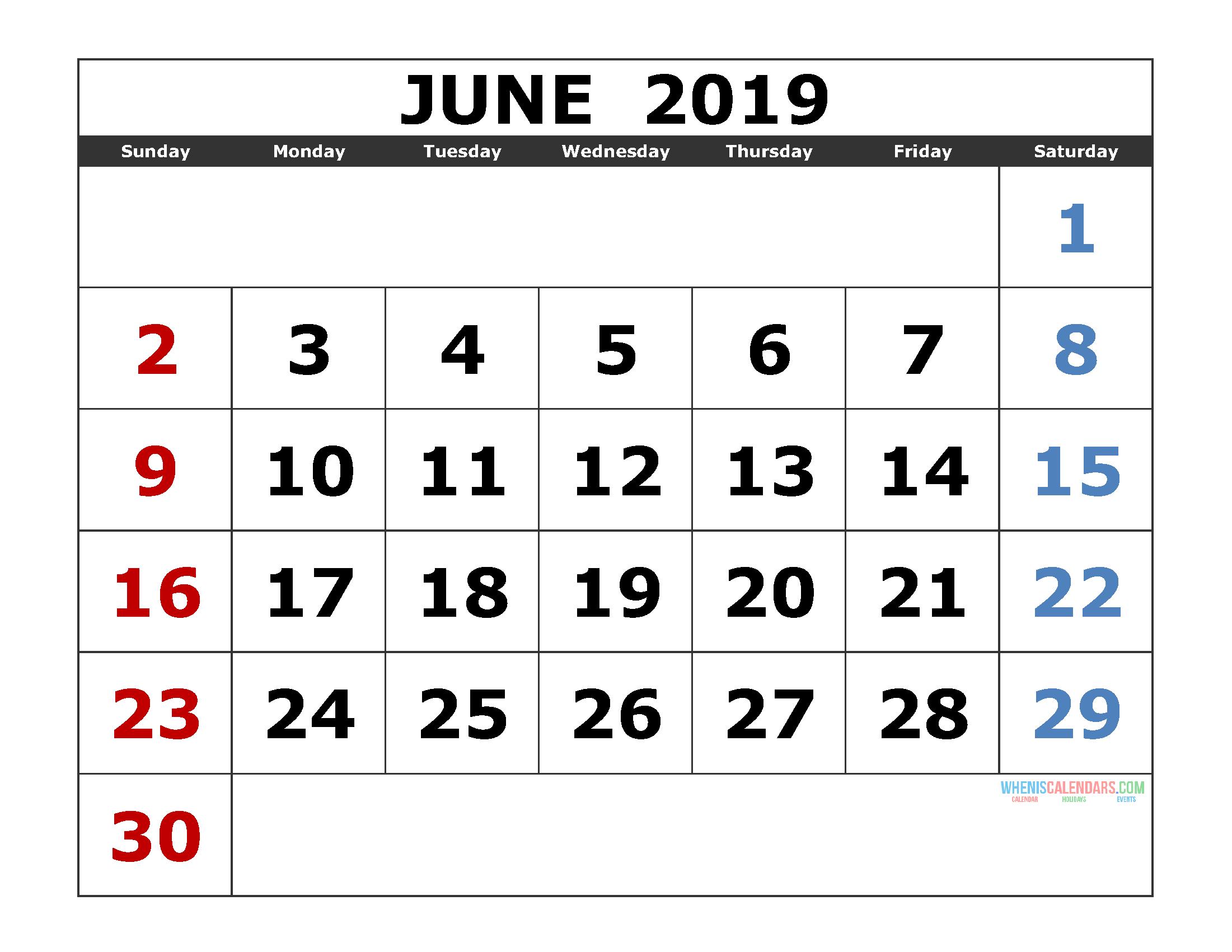 blank monthly calendar june 2019