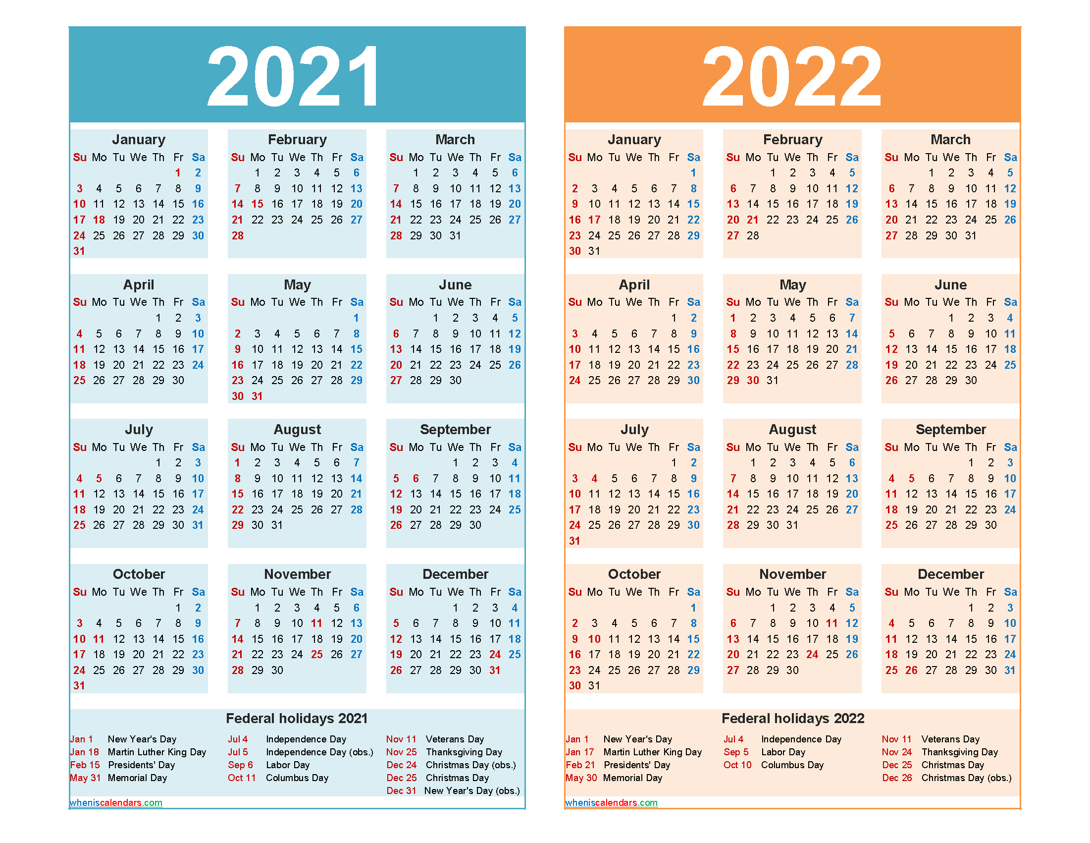 2021 and 2022 Calendar Printable Word, PDF - Free 2020 and ...