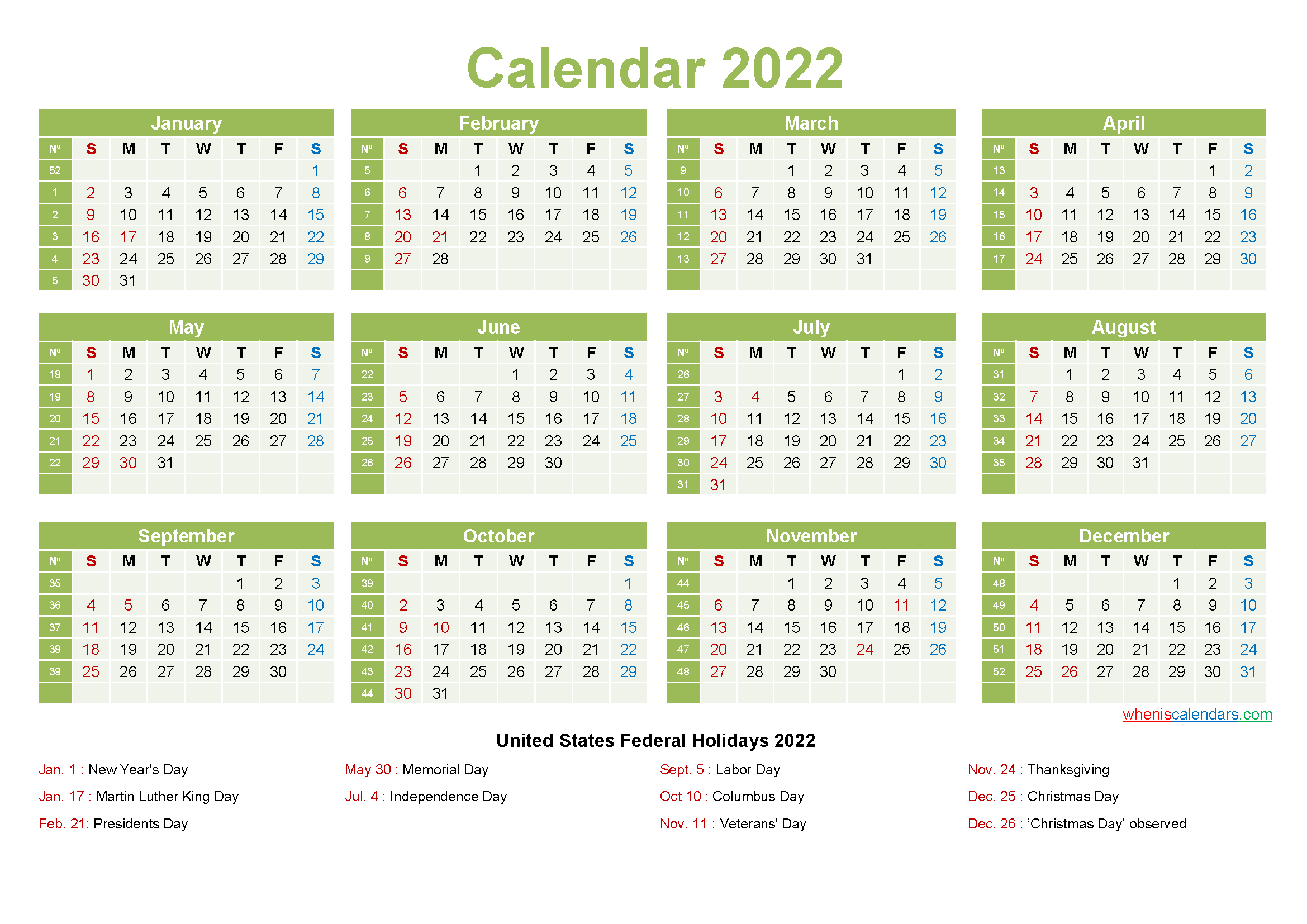 Printable Yearly 2022 Calendar with Holidays Word, PDF ...