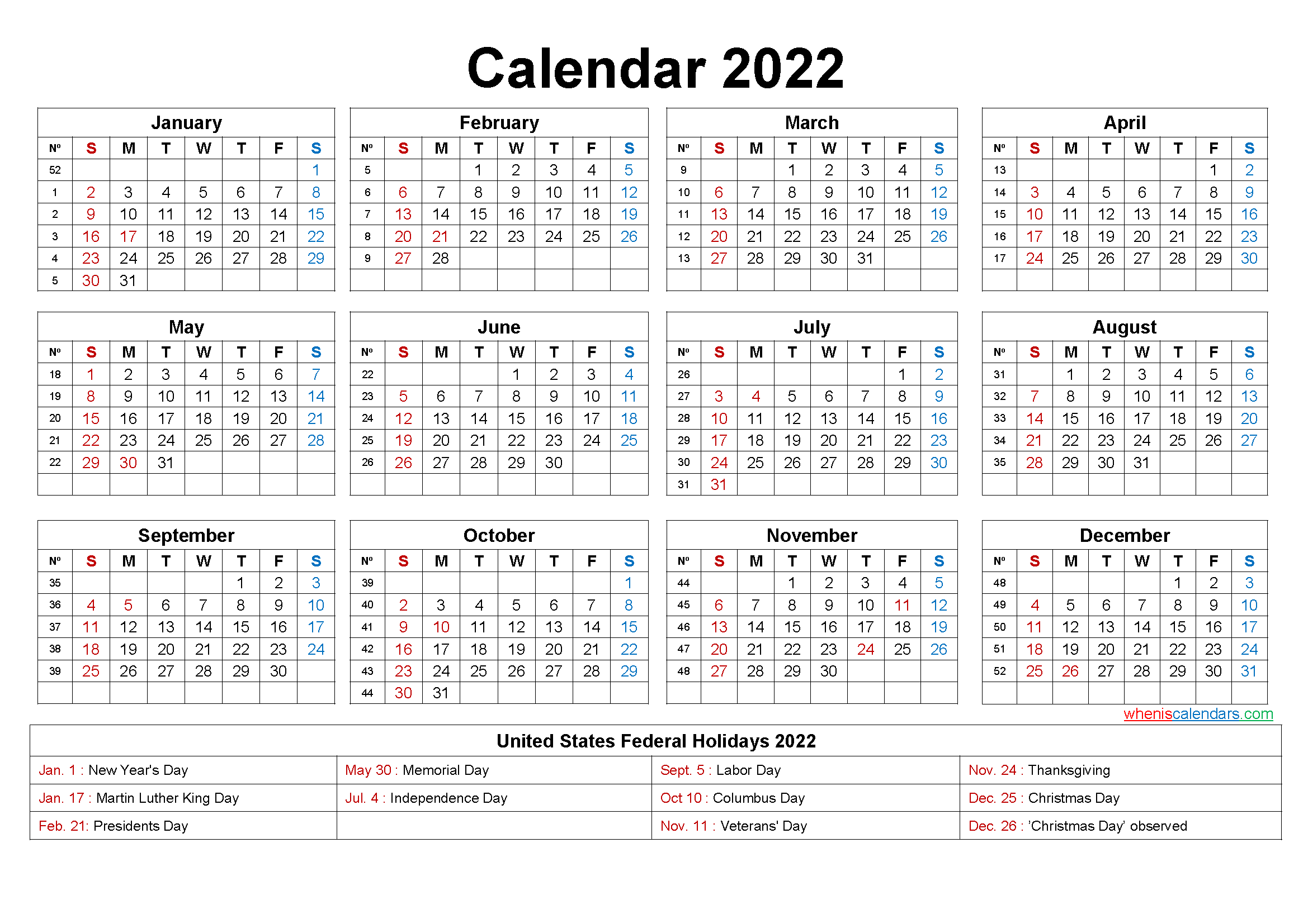 Free Yearly 2022 Calendar with Holidays Word, PDF - Free ...