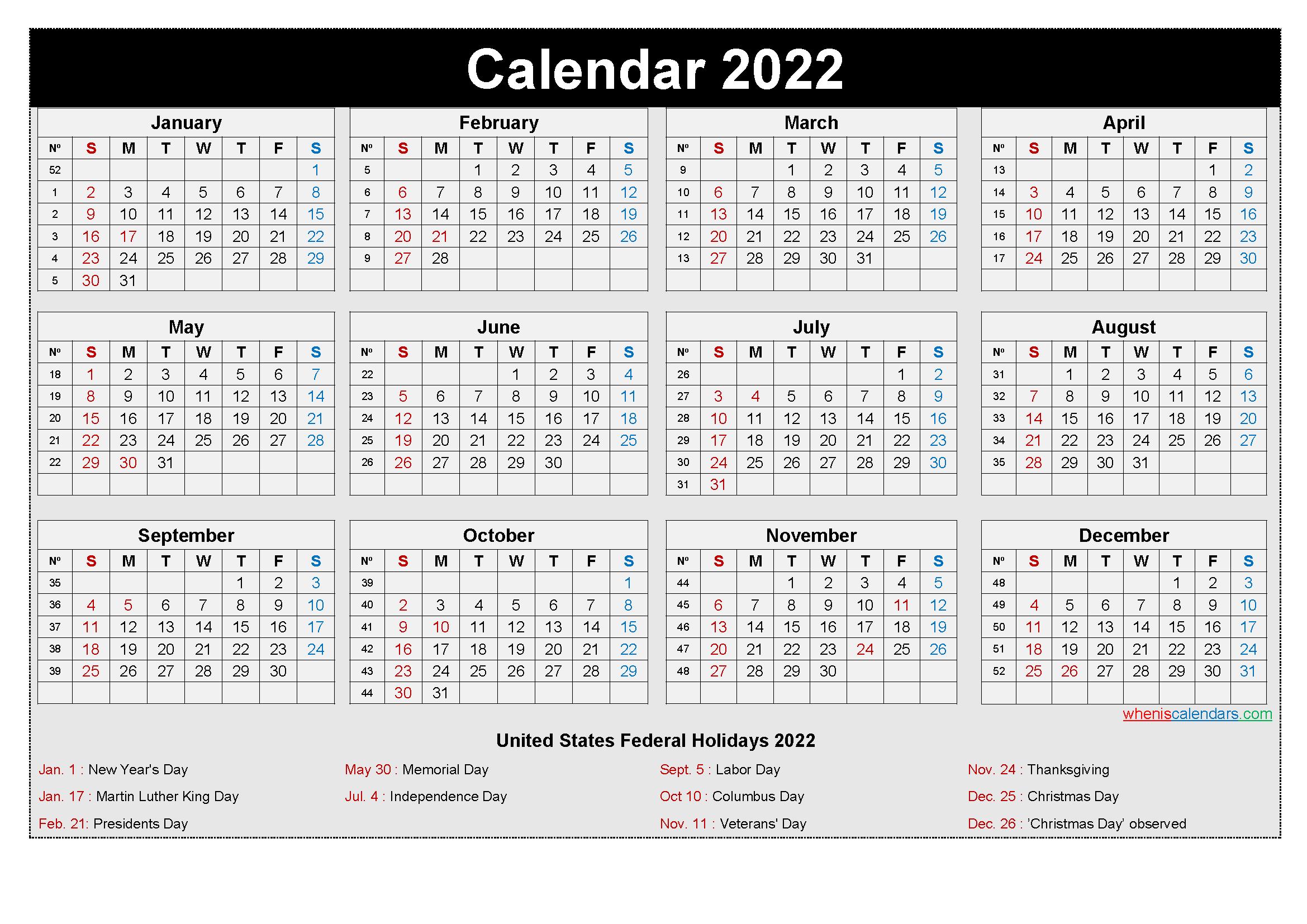 Free printable 2022 monthly calendar template pdf. Free Printable Yearly 2022 Calendar with Holidays as Word ...
