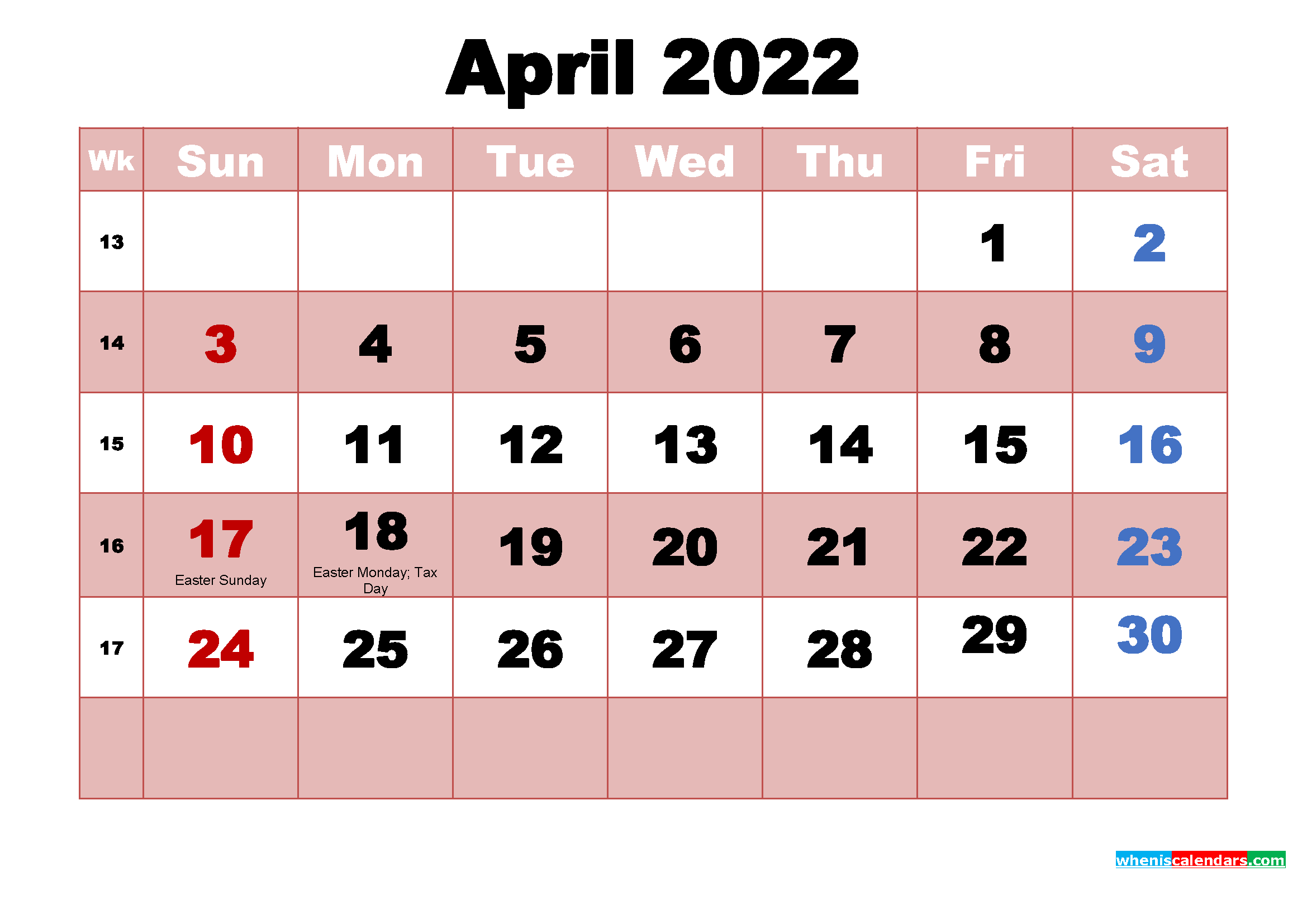 You can budget both your money and your time by making a. April 2022 Printable Monthly Calendar with Holidays | Free ...
