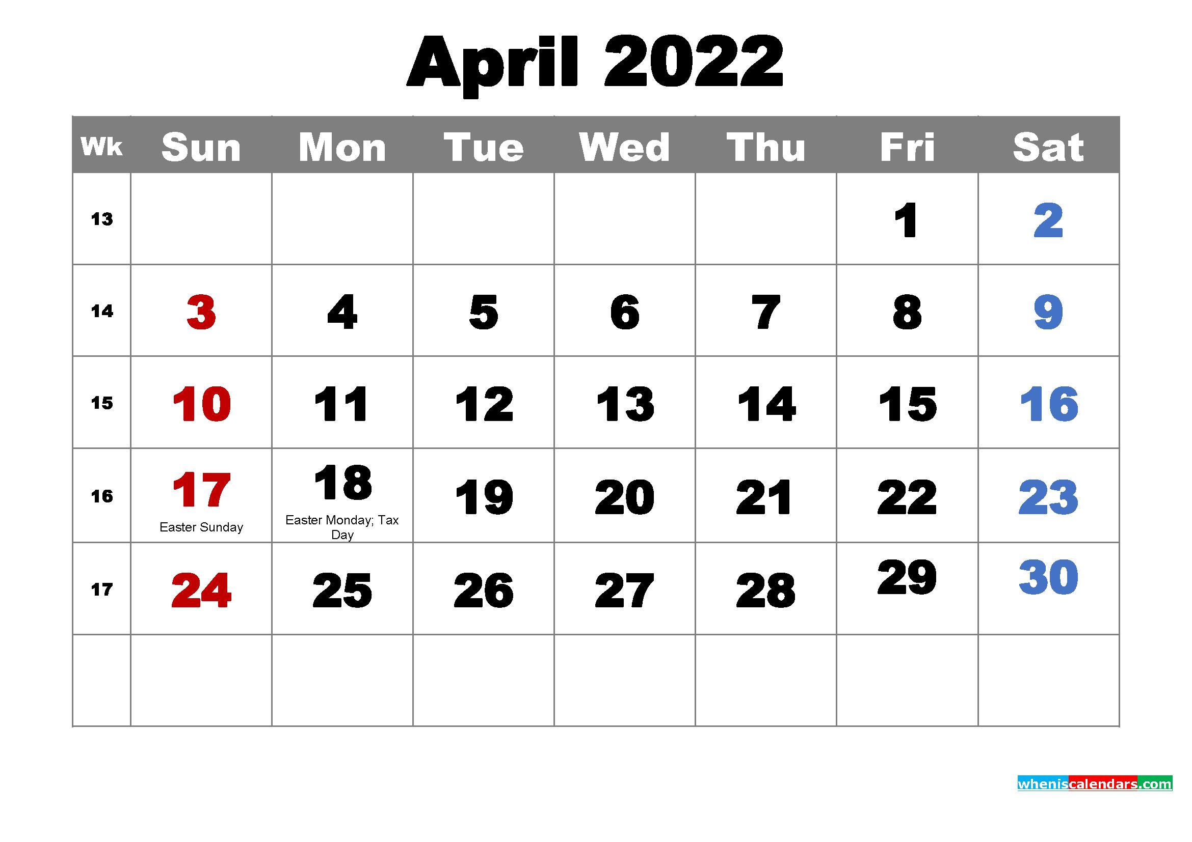 Free Printable April 2022 Calendar with Holidays as Word ...