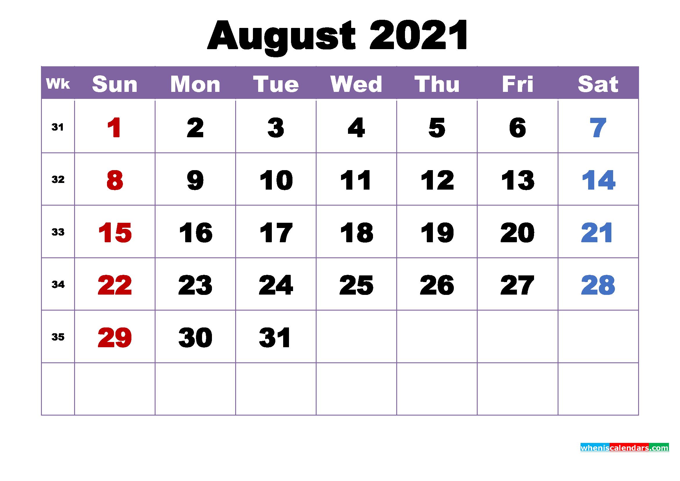 August 2021 Printable Calendar with Holidays Word, PDF ...