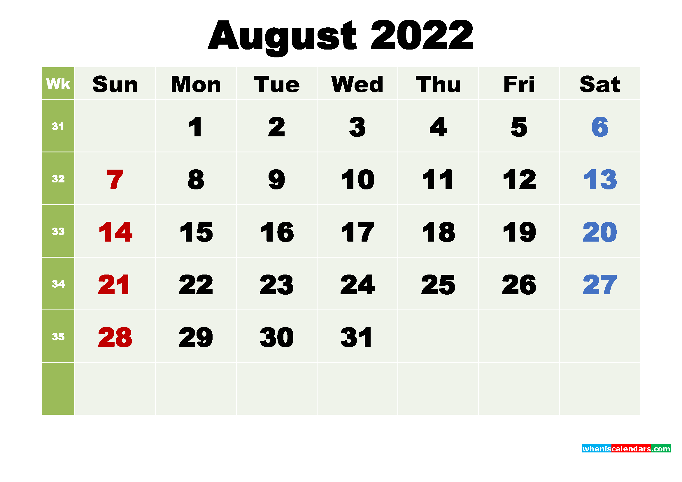 Free Printable August 2022 Calendar with Holidays | Free ...