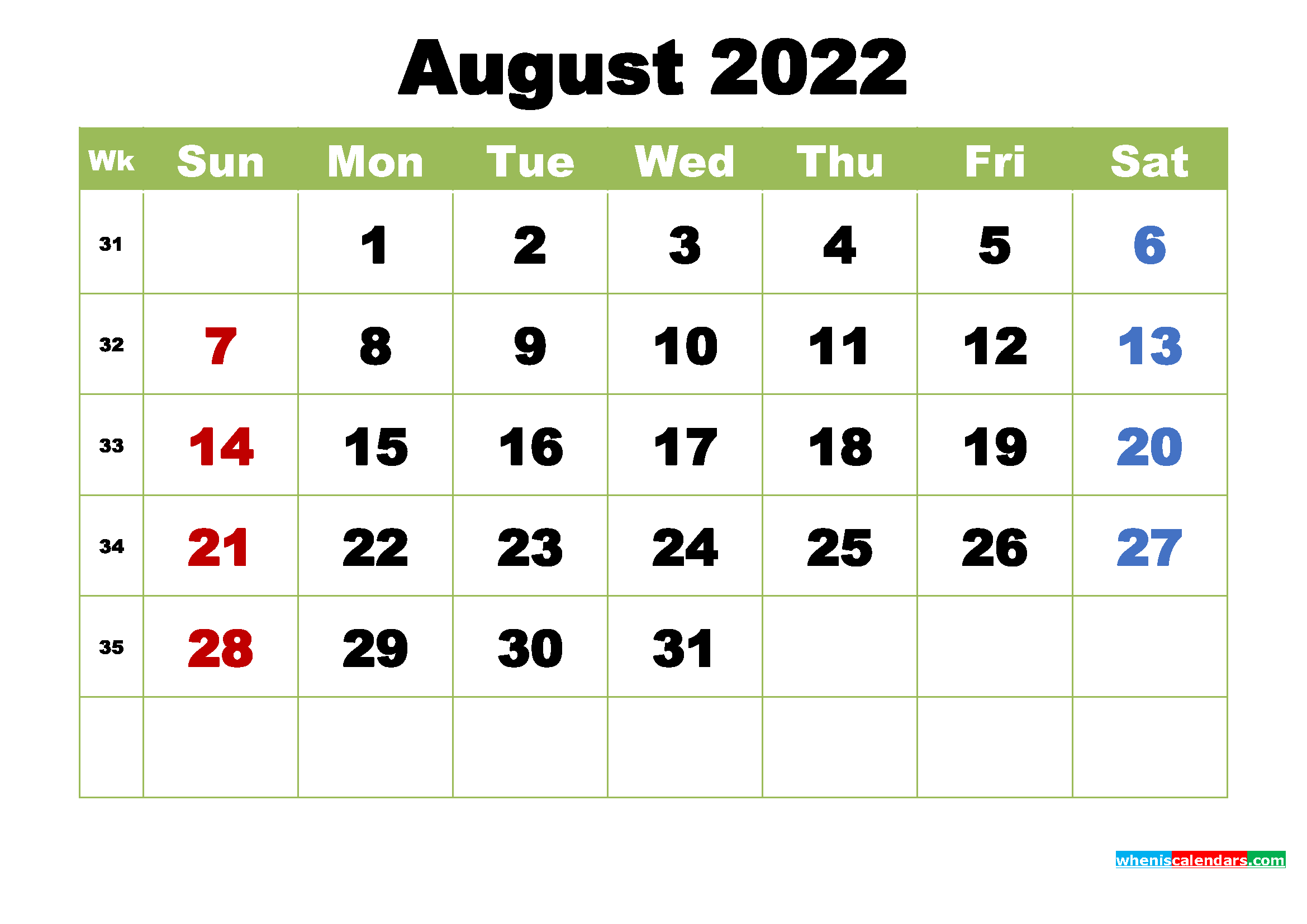 August 2022 Calendar with Holidays Wallpaper