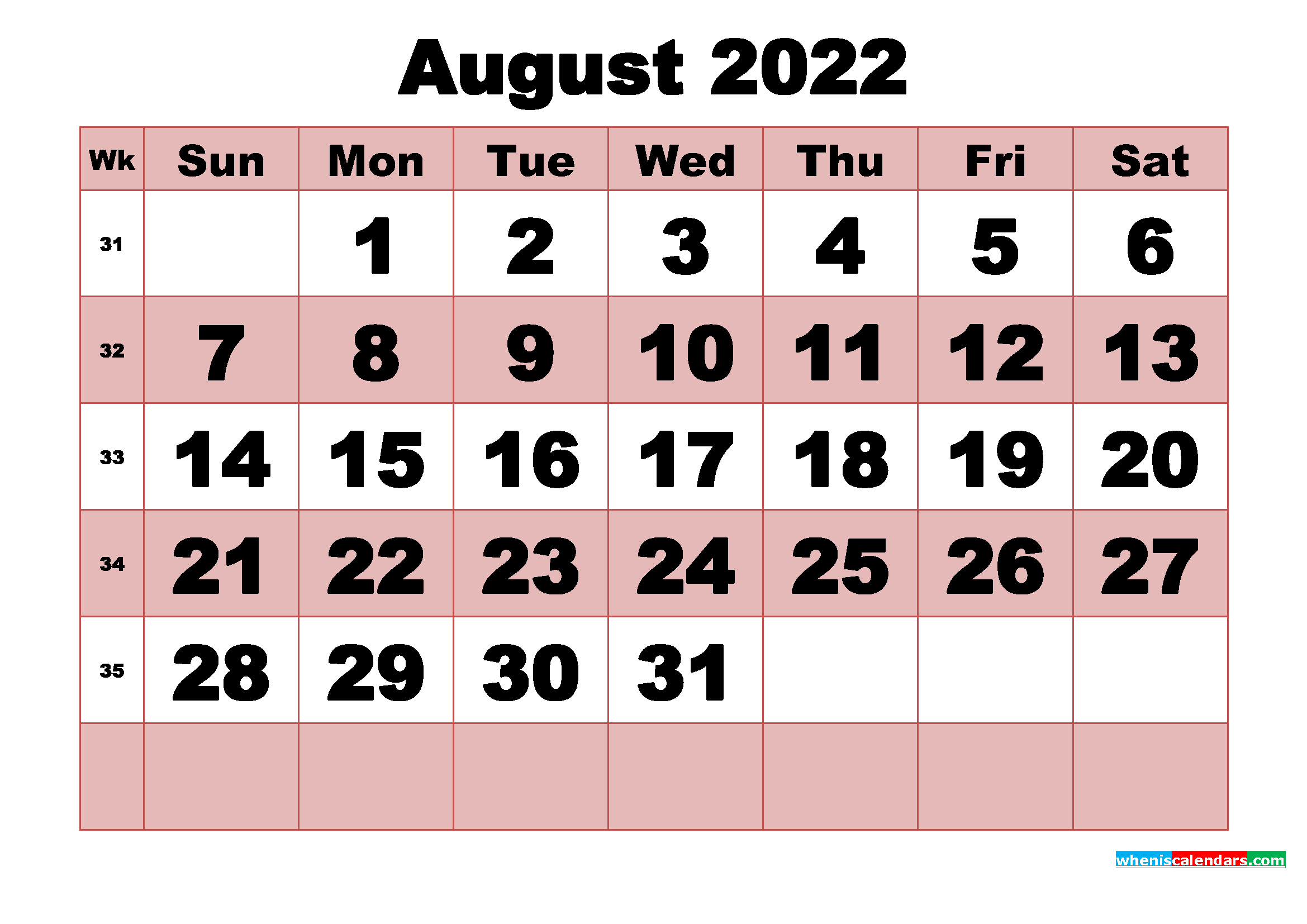 Free Printable Monthly Calendar August 2022   Free ...