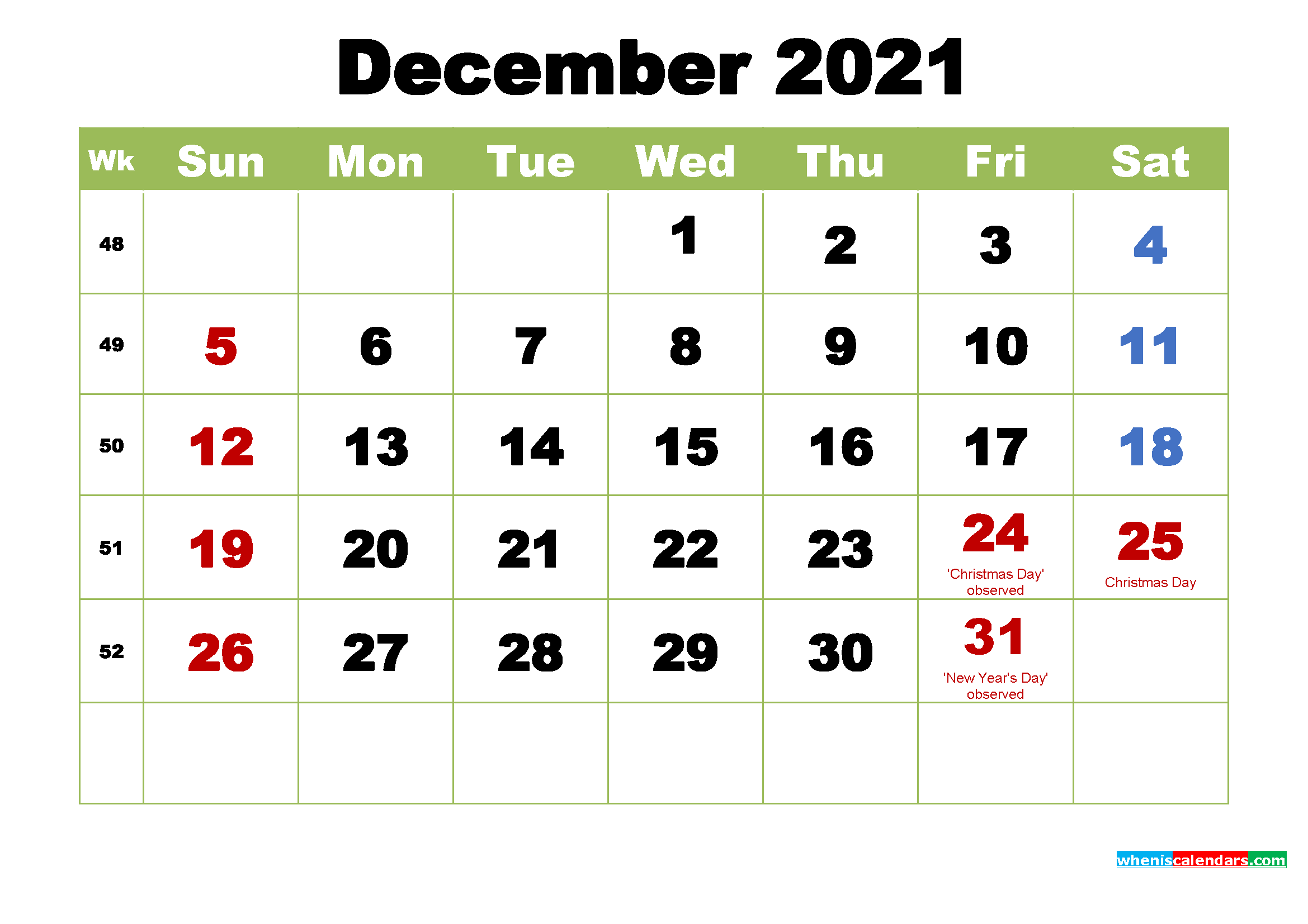 Download monthly & weekly printable calendars for 2021 — ready to download December 2021 Desktop Calendar with Holidays