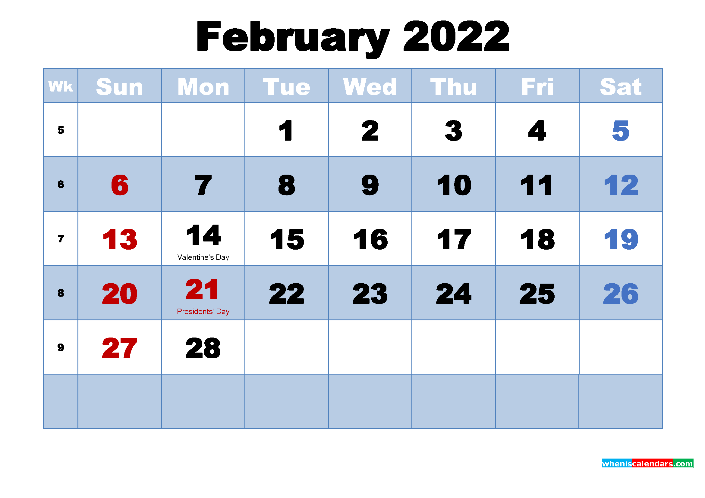 Free Printable 2022 Calendar February as Word, PDF