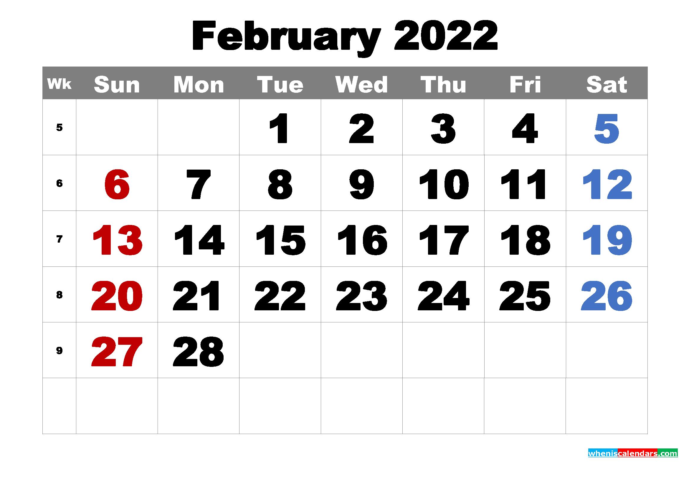 Free Printable February 2022 Calendar Word, PDF, Image