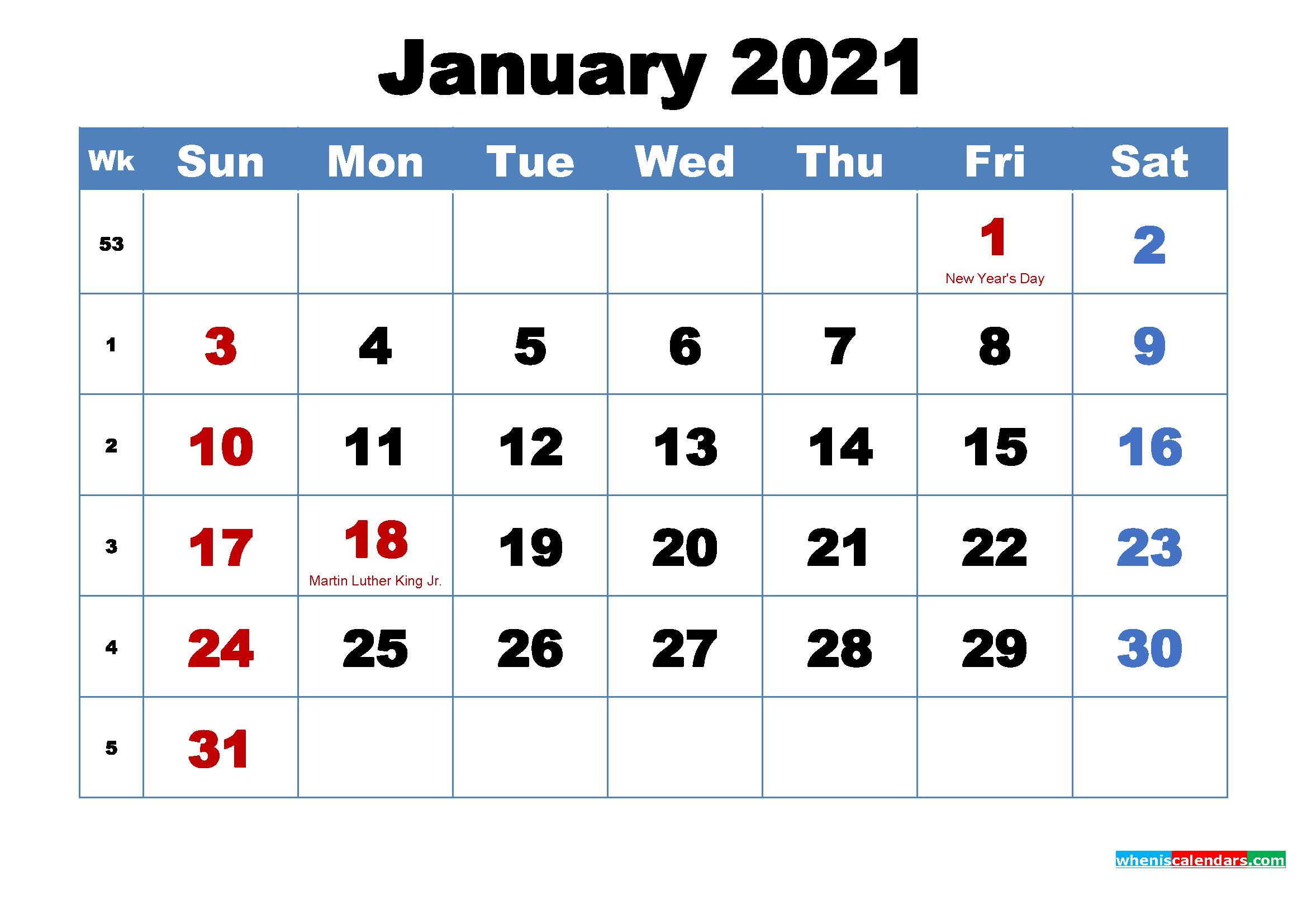 January 2021 Desktop Calendar Free Download