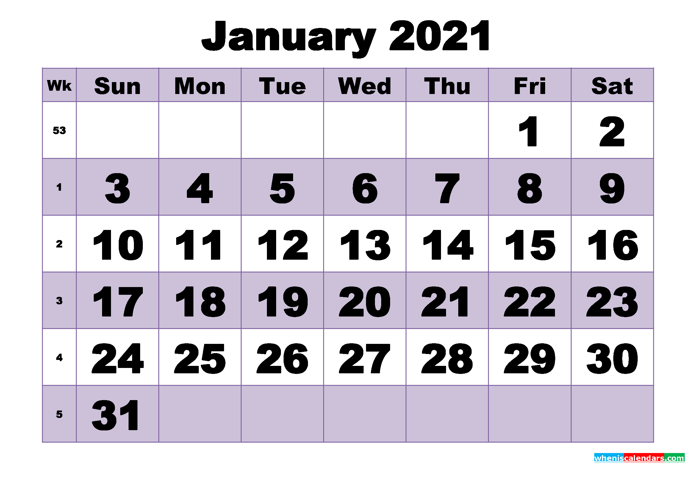 Free January Printable Monthly Calendar Template