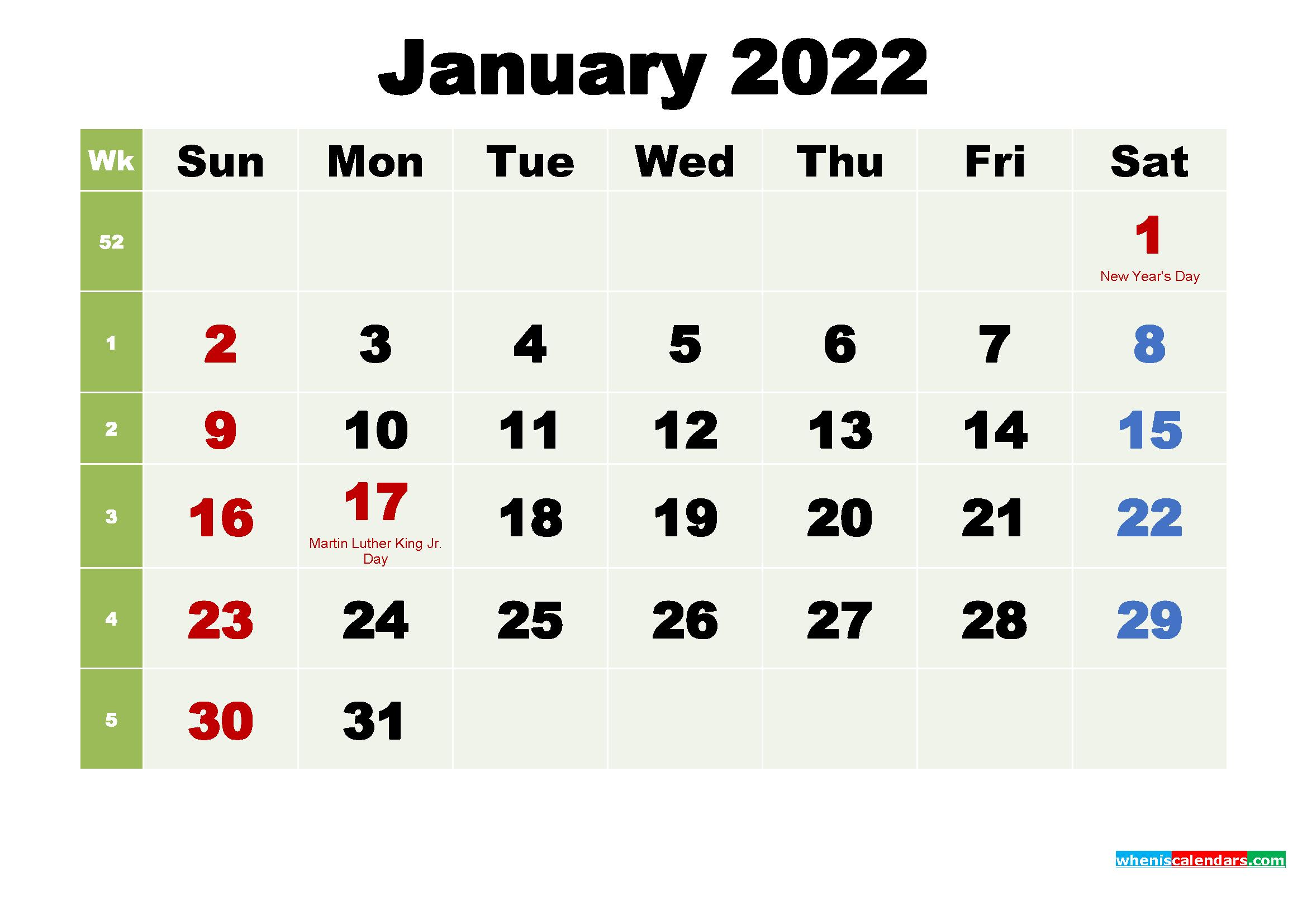 Free Printable January 2022 Calendar with Holidays | Free ...