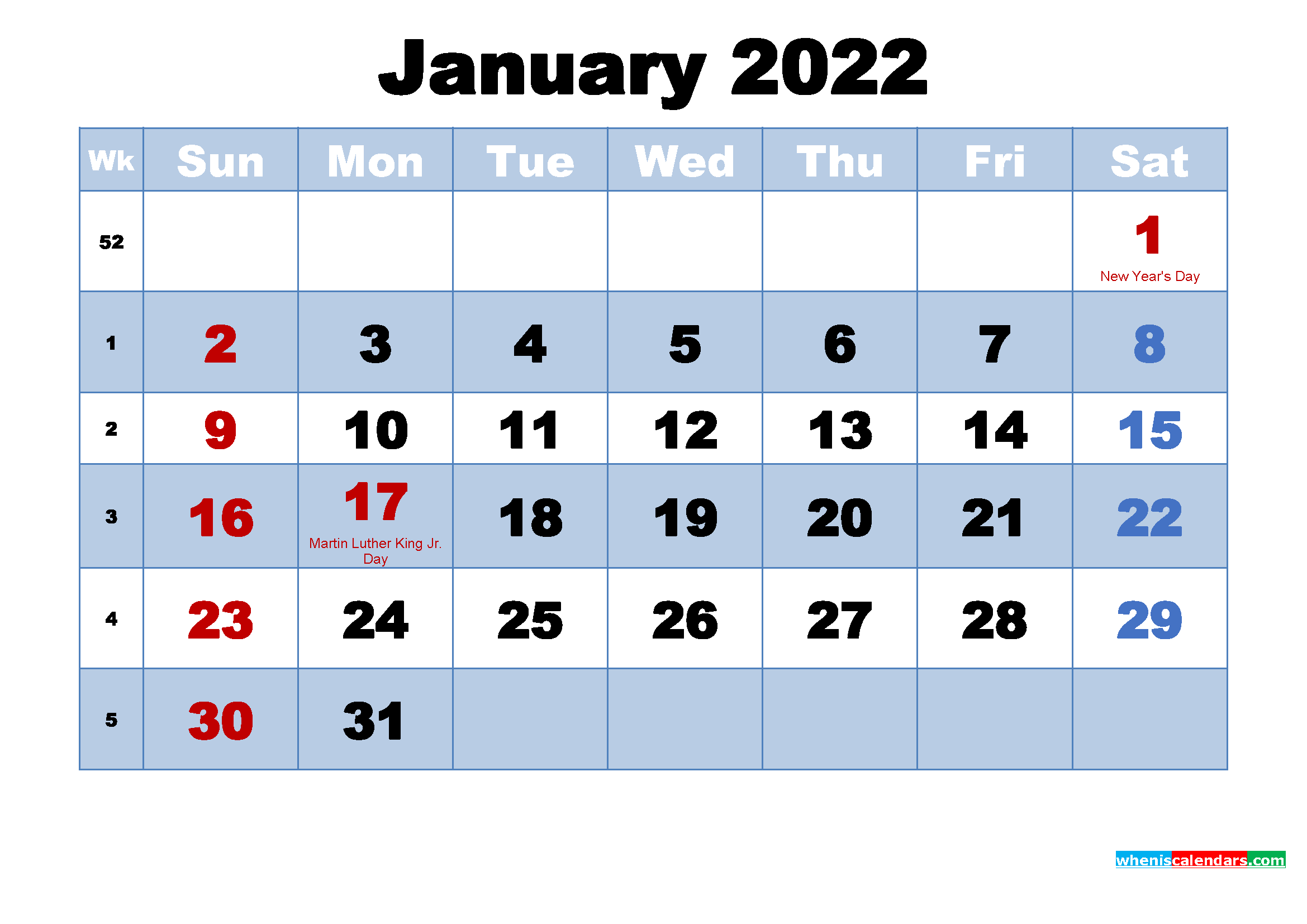 January 2022 Calendar with Holidays Printable | Free ...
