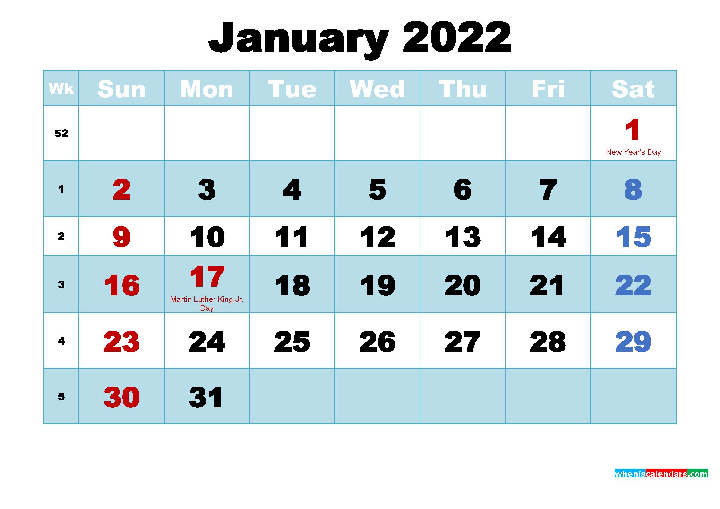 January 2022 Calendar Wallpaper High Resolution