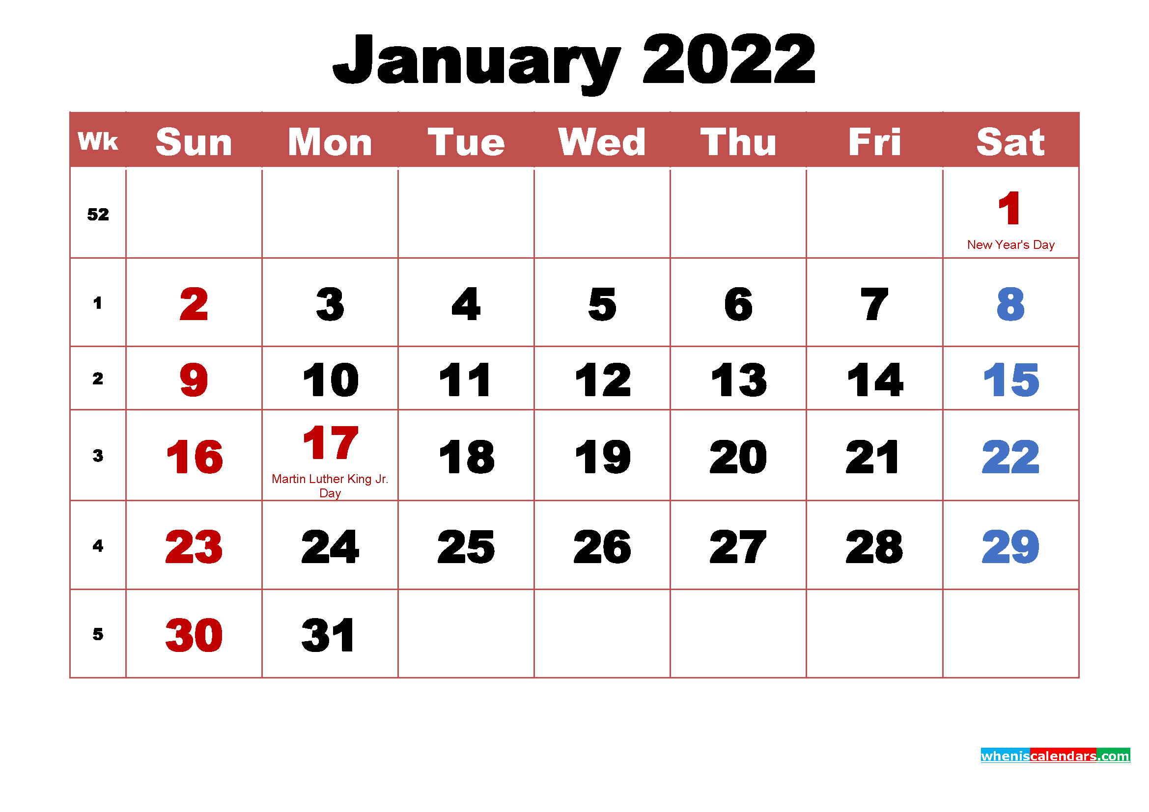 Printable January 2022 Calendar with Holidays Word, PDF ...