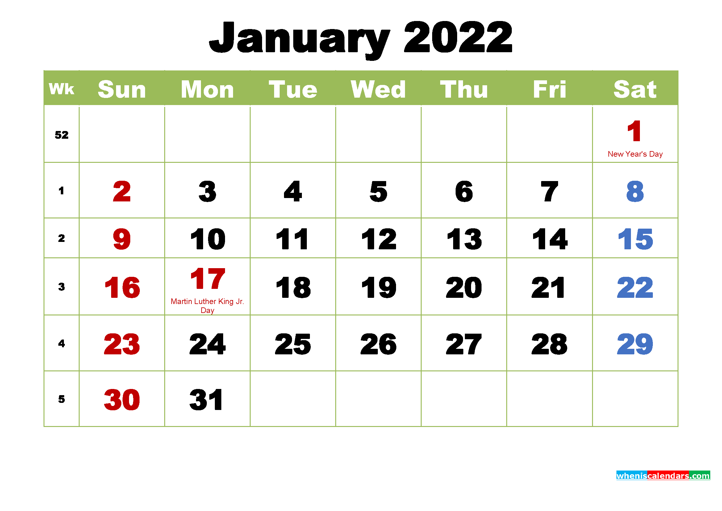 Free January 2022 Printable Calendar with Holidays | Free ...