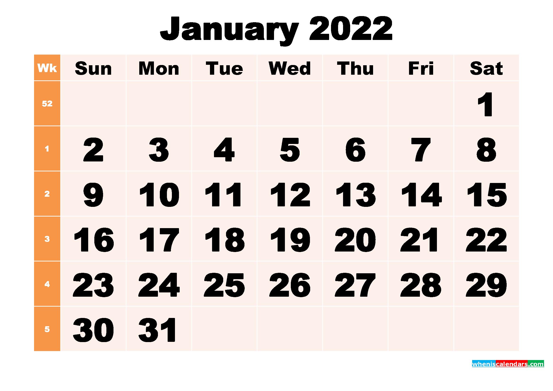 Free Printable January 2022 Calendar Template Word, PDF ...
