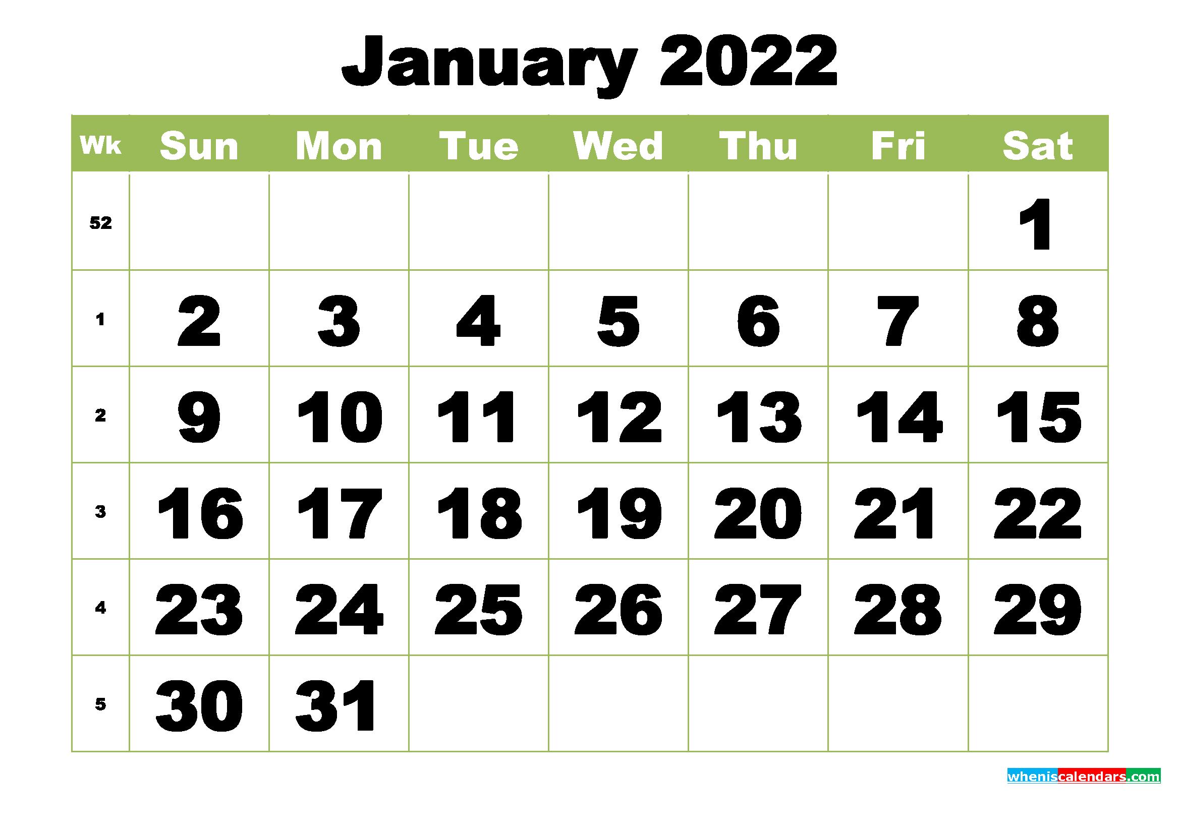 Free Printable Monthly Calendar January 2022 - Free ...