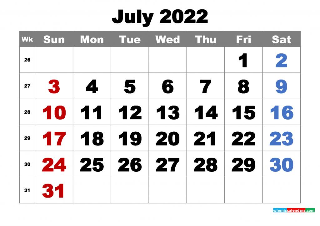 Free Printable July 2022 Calendar Word, PDF, Image   Free ...