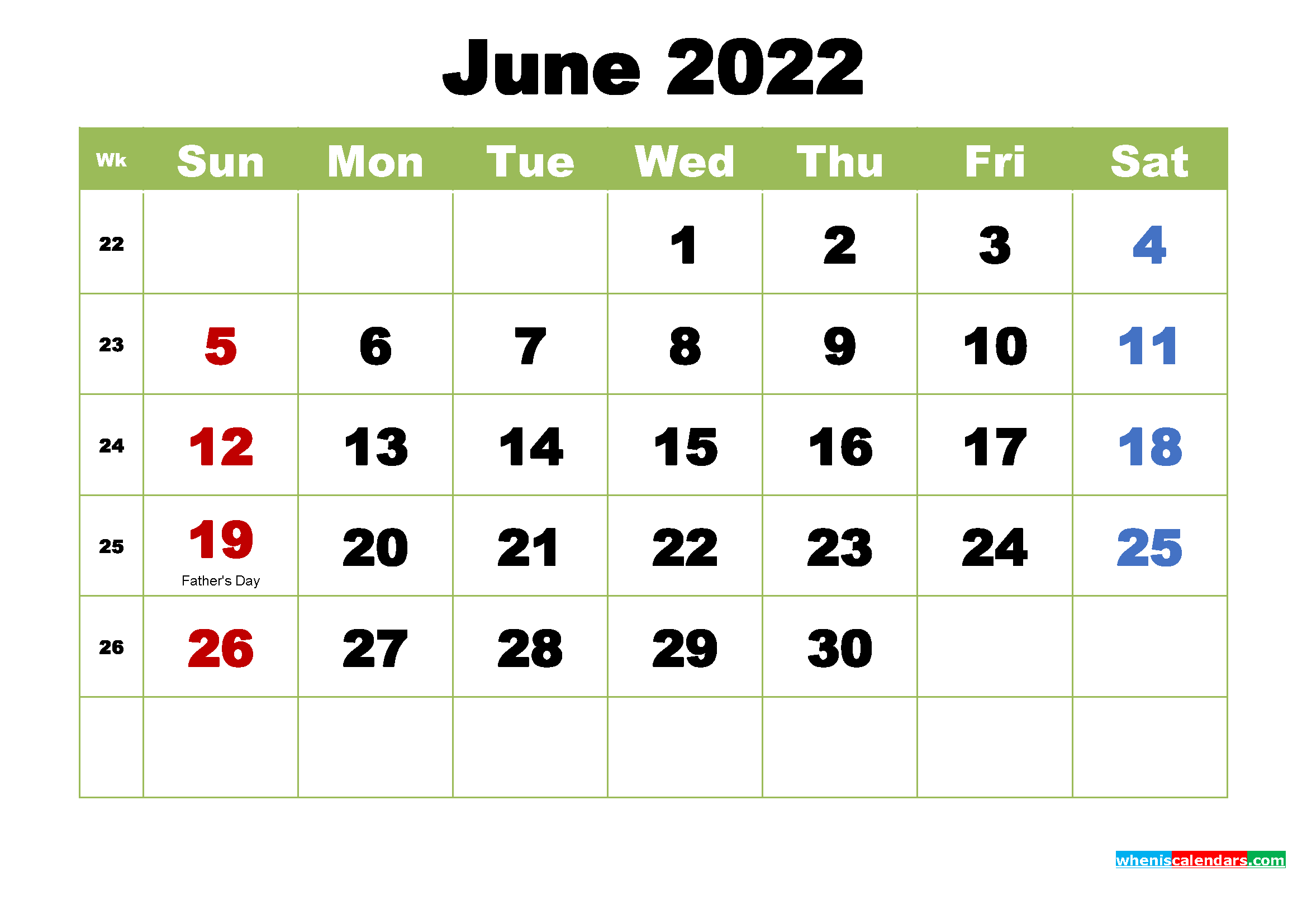 Free June 2022 Printable Calendar with Holidays | Free ...
