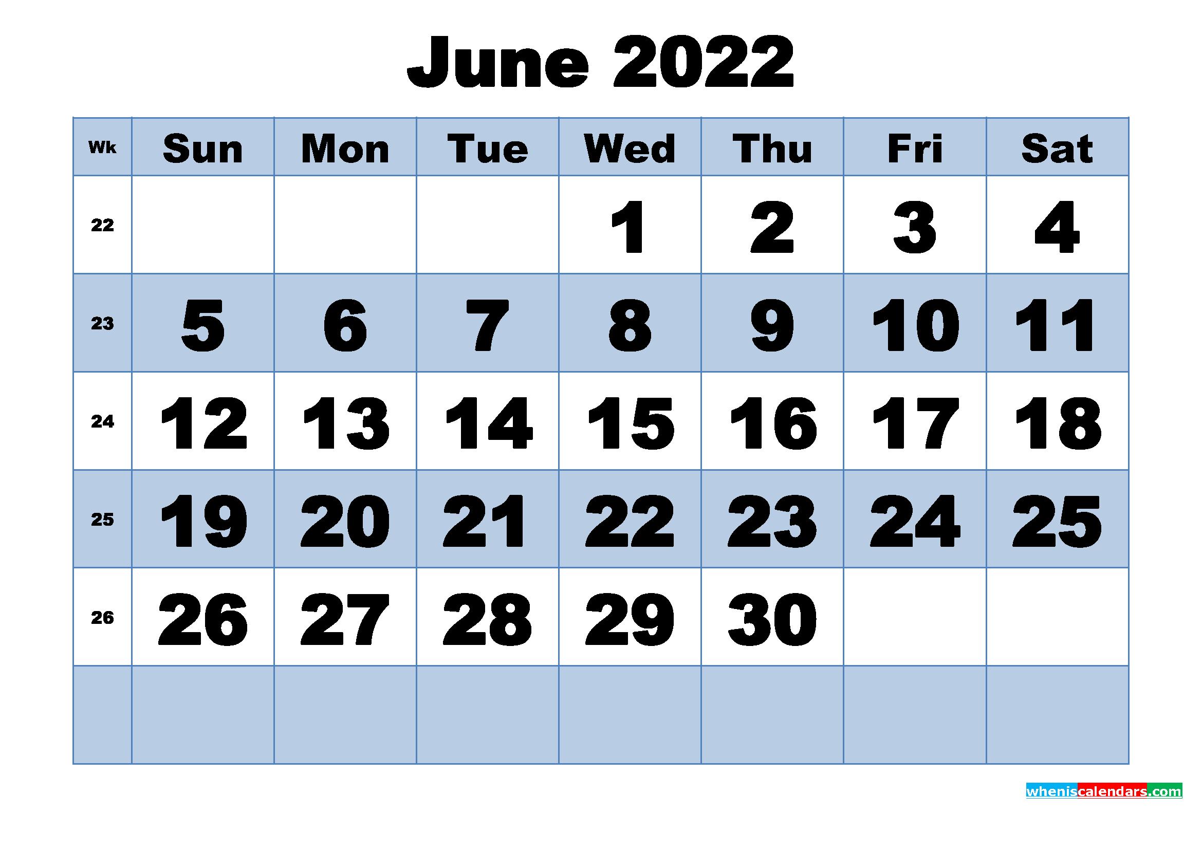 Free Printable June 2022 Calendar with Week Numbers - Free ...