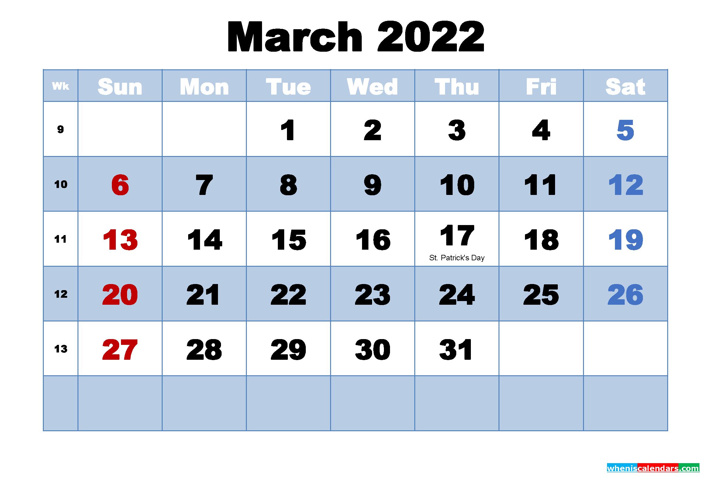 Free Printable 2022 Calendar March as Word, PDF | Free ...