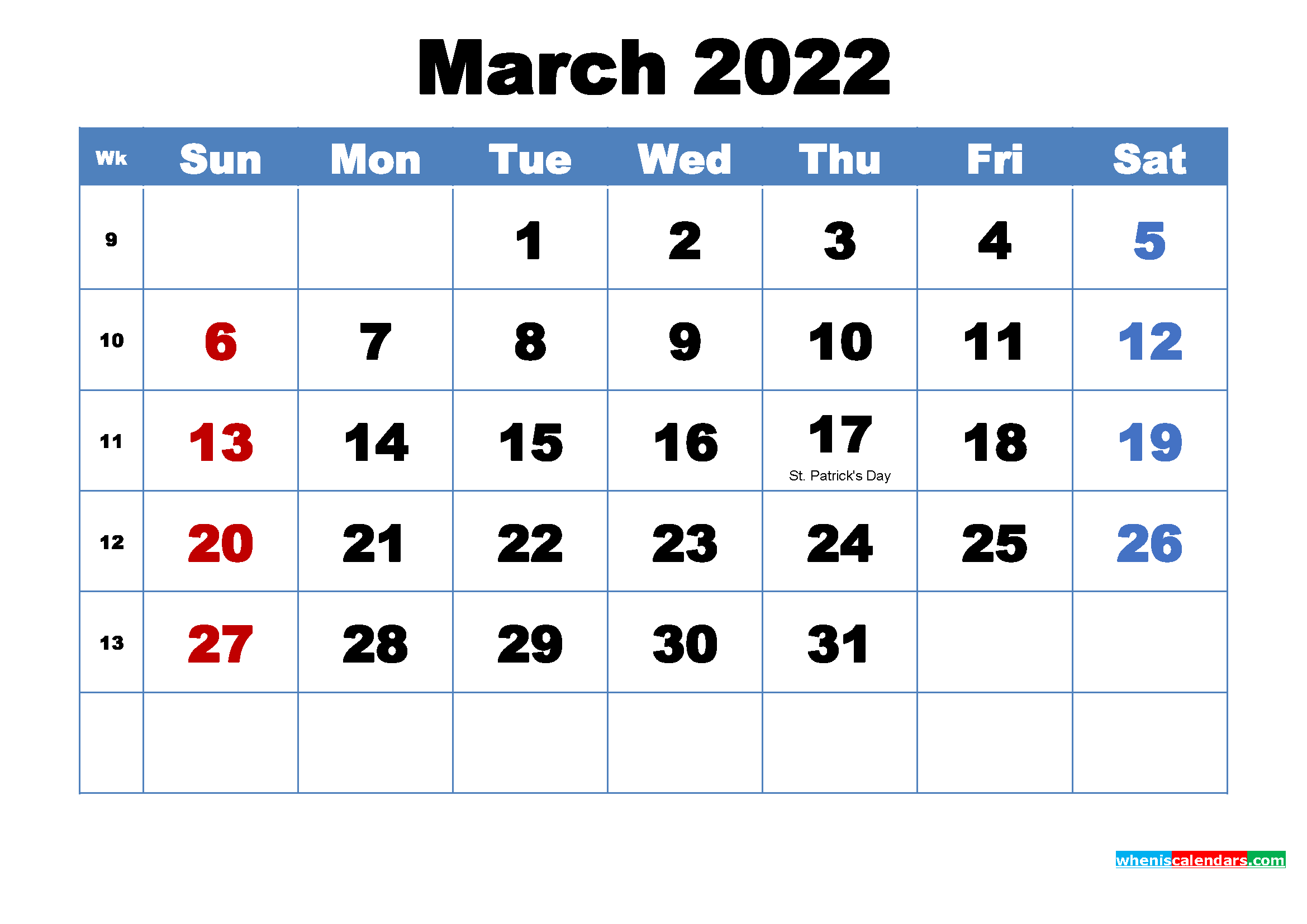 Free Printable March 2022 Calendar with Holidays - Free ...