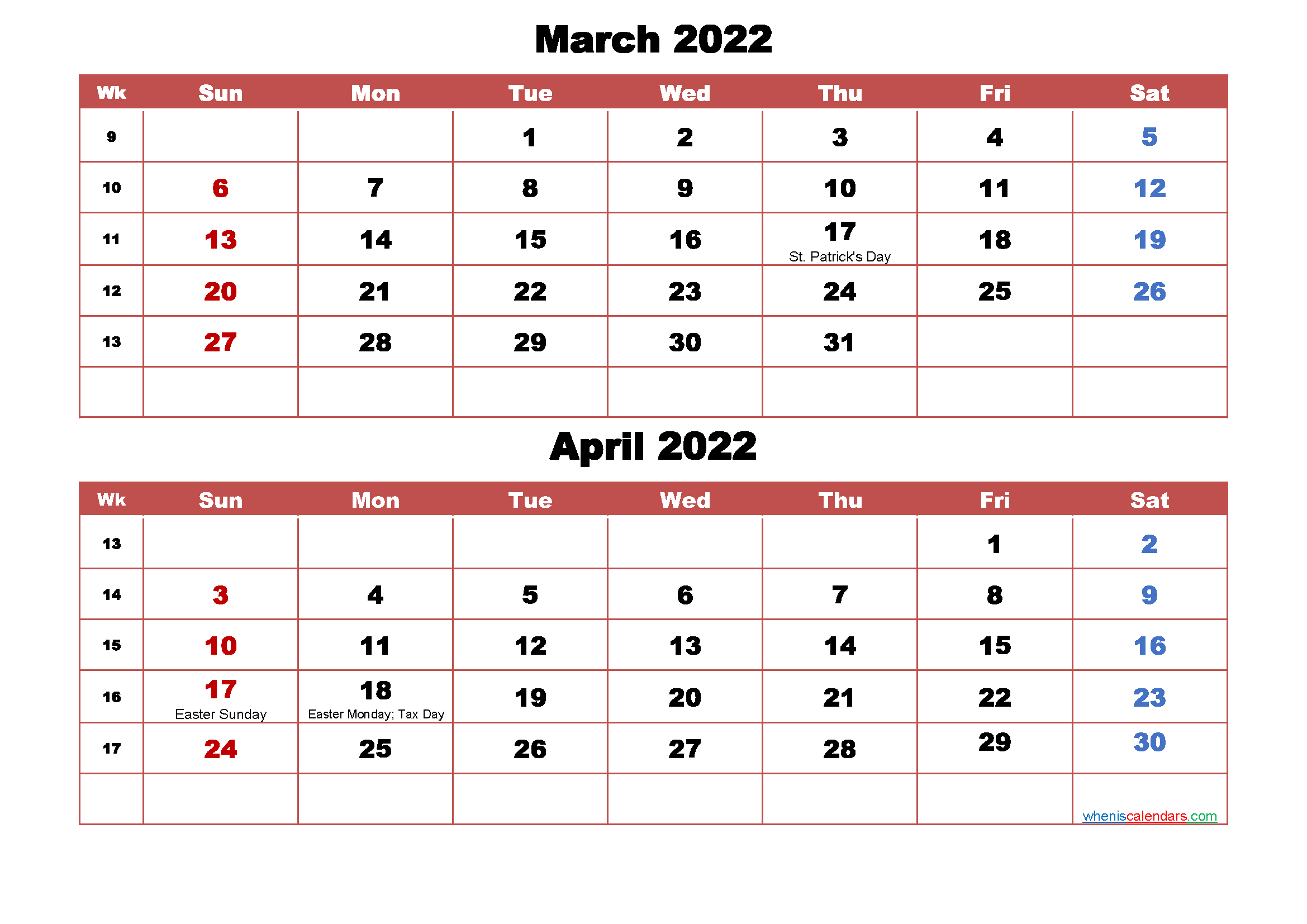 March and April Calendar 2022 Printable Word, PDF   Free ...