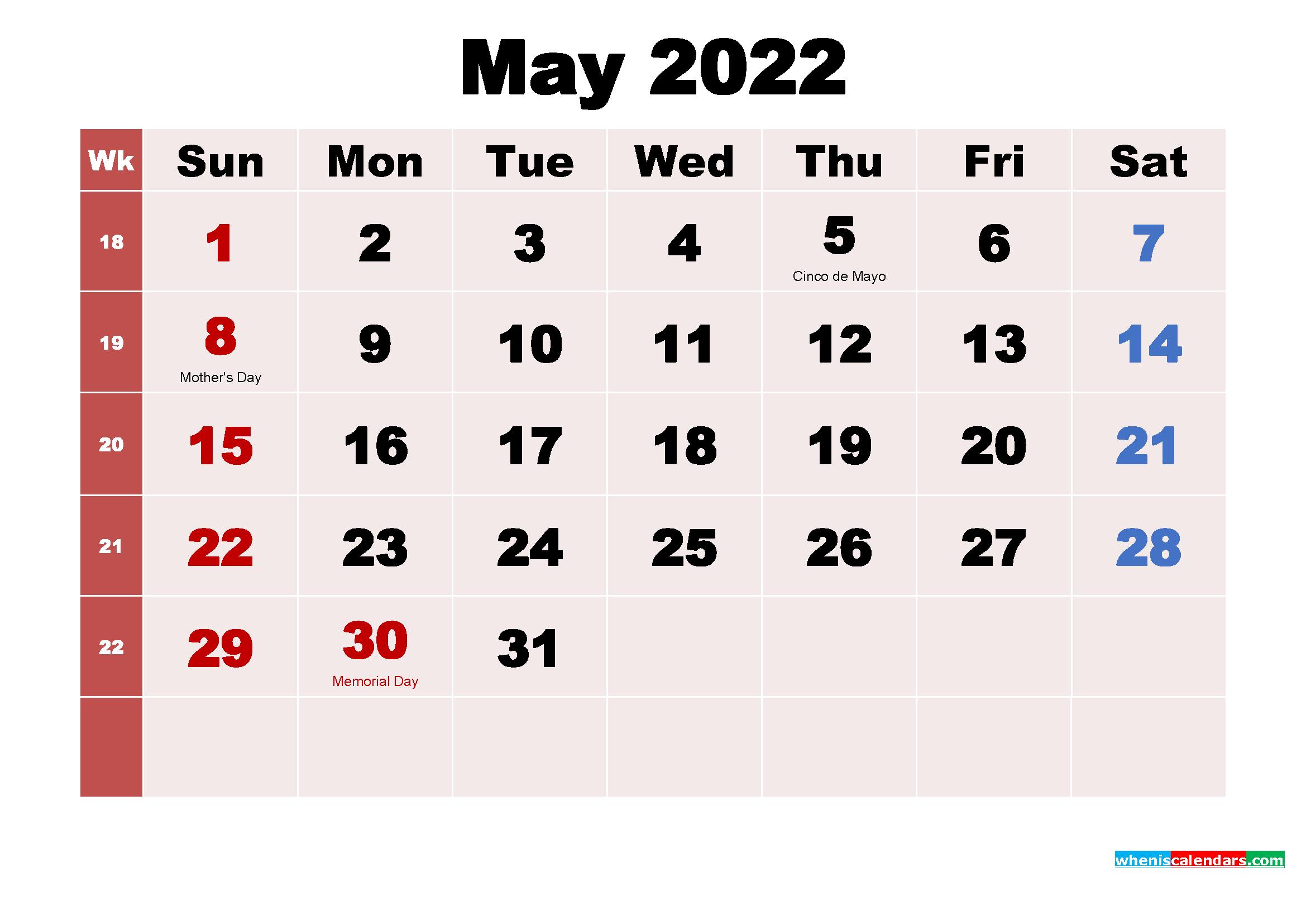May 2022 Printable Calendar with Holidays