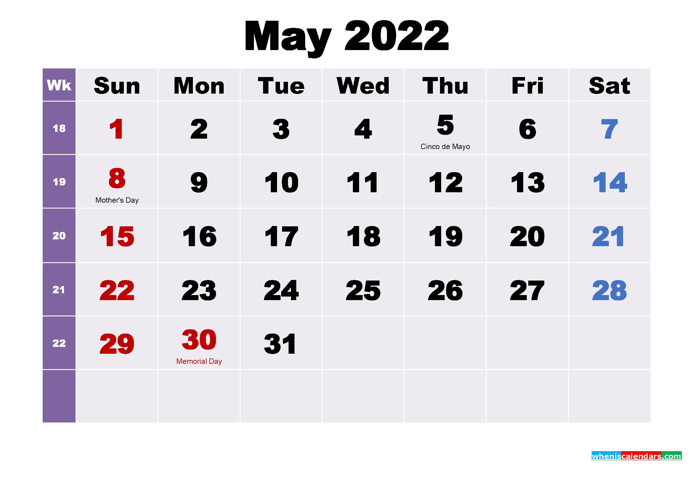 printable calendar of 2021 and 2022. Printable May 2022 Calendar with Holidays Word, PDF