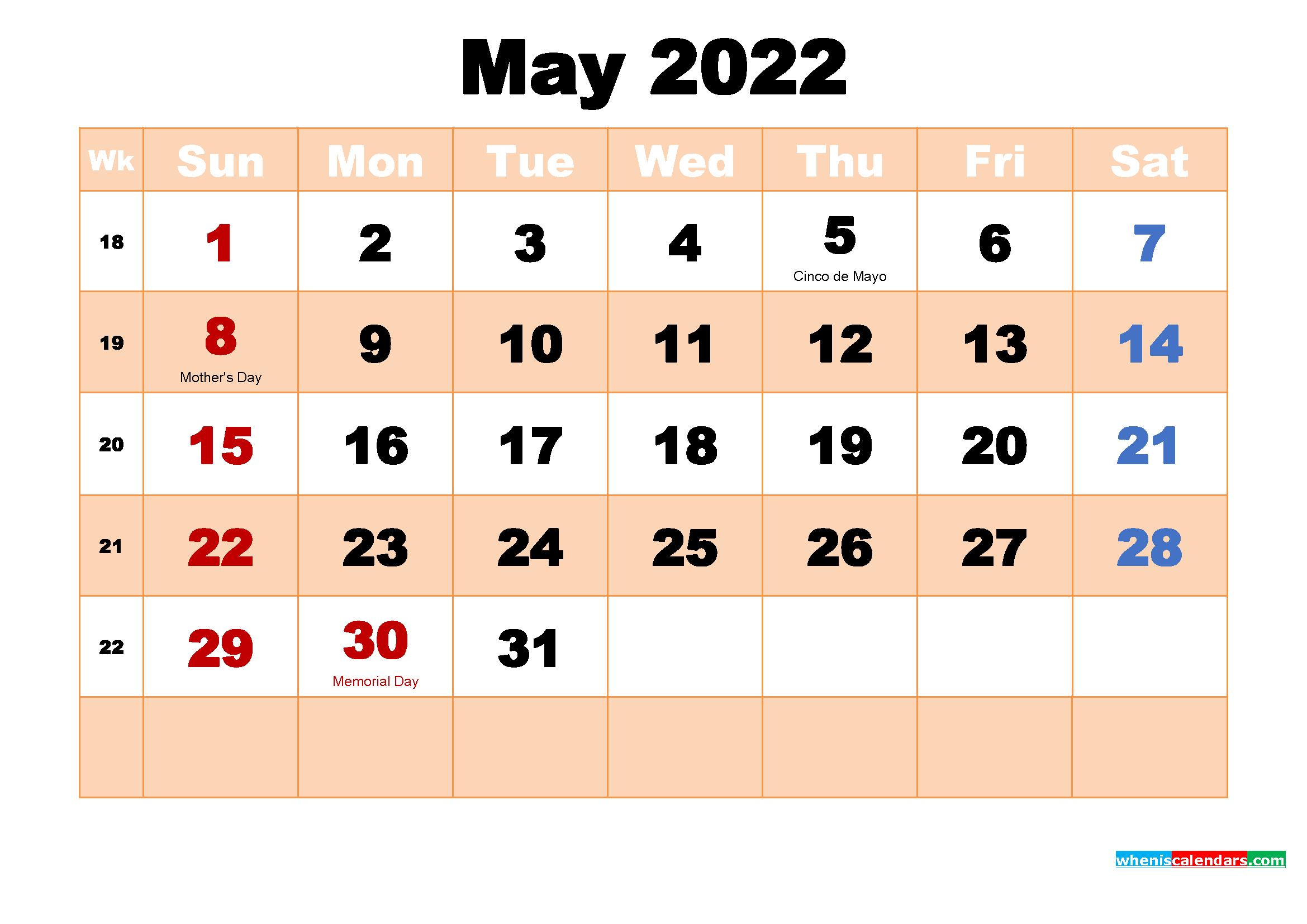 free printable 2022 calendar with holidays pdf. Free Printable May 2022 Calendar with Holidays